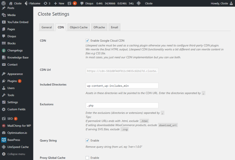 Google Cloud CDN settings for WordPress
